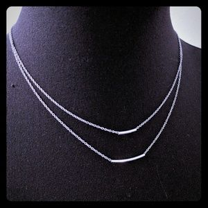 Double Chain w/ Bar Silver Necklace